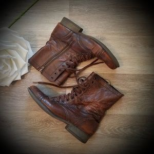 Madden Vintage Lace Up Leather Boots Troopa